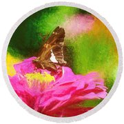 Colorful Silver Spotted Skipper Butterfly Round Beach Towel