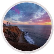 Colorful Sky After Sunset At Point Vicente Lighthouse Round Beach Towel