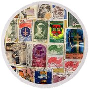Colorful Stamp Collection Round Beach Towel