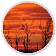 Colorful Sunrise Trees Round Beach Towel