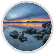 Colorful Sunset At Sand Harbor Panorama Round Beach Towel