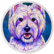 Colorful West Highland White Terrier Blue Background Round Beach Towel