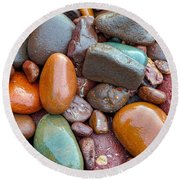 Colorful Wet Stones Round Beach Towel