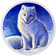 Colorful Winter Arctic Fox Round Beach Towel
