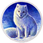 Colorful Winter Arctic Fox Round Beach Towel