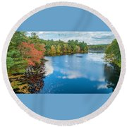 Round Beach Towel featuring the photograph Colors Of Cady Pond by Michael Hughes