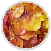 Colors Of Fall - Red To Yellow Round Beach Towel