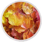 Colors Of Fall - Yellow To Red Round Beach Towel