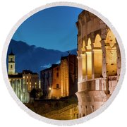 Round Beach Towel featuring the photograph Colosseum And The Campidoglio by Fabrizio Troiani