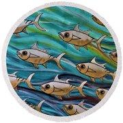 Coloured Water Fish Round Beach Towel