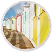 Colourful Bude Beach Huts Round Beach Towel
