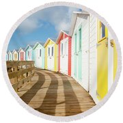 Colourful Bude Beach Huts Round Beach Towel