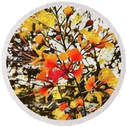 Colourful Leaves Round Beach Towel