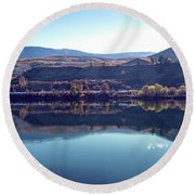 Round Beach Towel featuring the photograph Train Reflection by Mae Wertz