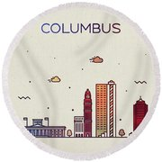 Columbus Ohio City Skyline Fun Whimsical Series Wide Bright Round Beach Towel