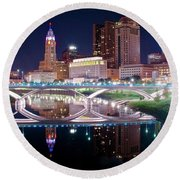 Columbus Ohio Full Moon Pano Round Beach Towel