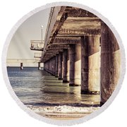 Columns Of Pier In Burgas Round Beach Towel