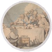 Comforts Of Bath - Gouty Gourmands At Dinner Round Beach Towel