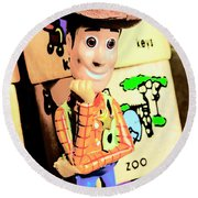 Comic Cowboy Round Beach Towel