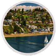 Commencement Bay,washington State Round Beach Towel
