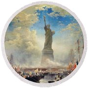 Commerce Of Nations Rendering Homage To Liberty, 1876 Round Beach Towel