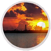 Competing With The Sun Round Beach Towel