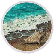 Round Beach Towel featuring the painting Conch Shell by Darice Machel McGuire