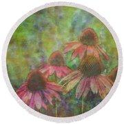 Coneflowers Among The Lavender 1667 Idp_2 Round Beach Towel