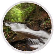 Round Beach Towel featuring the photograph Conestoga Falls by Sharon Seaward