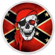 Confederate Flag Skull Round Beach Towel