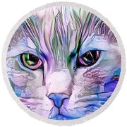 Cool Blue Cat Round Beach Towel
