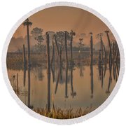 Cool Day At Viera Wetlands Round Beach Towel