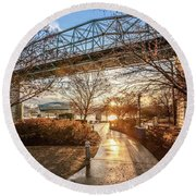 Coolidge Park Path At Sunset Round Beach Towel