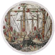 Copper-engraving The Battle Of Zonchio 1499. Round Beach Towel