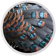 Copper-tipped Ocellated Turkey Feathers Photograph Round Beach Towel