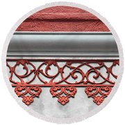 Coral Pink Wrought Iron Trim Round Beach Towel