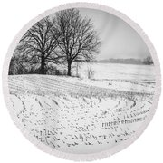 Round Beach Towel featuring the photograph Corn Snow by Kendall McKernon