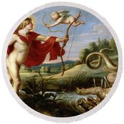 Cornelis De Vos / 'apollo And The Python', 1636-1638, Flemish School, Oil On Canvas. Cupid. Round Beach Towel