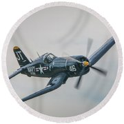 Round Beach Towel featuring the photograph Corsair Approach by Tom Claud