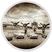 Round Beach Towel featuring the photograph Corvettes And B17 Bomber -0027cl2 by Jill Reger