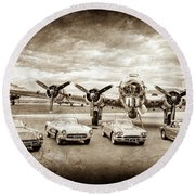 Round Beach Towel featuring the photograph Corvettes And B17 Bomber -0027s by Jill Reger