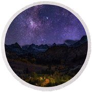 Round Beach Towel featuring the photograph Cosmic Nature by Tassanee Angiolillo
