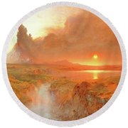 Cotopaxi, 1862 Round Beach Towel