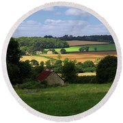 Round Beach Towel featuring the photograph Cotswold Field England 81601 by Rick Veldman