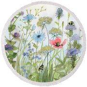 Cottage Flowers And Bees Round Beach Towel