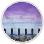 Cotton Candy Skies Over The Sea Round Beach Towel
