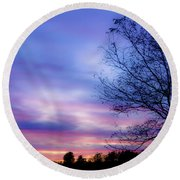 Cotton Candy Sunset In October Round Beach Towel