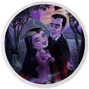 Count And Countess Dracula During Halloween Evening Round Beach Towel