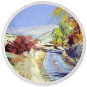 Round Beach Towel featuring the painting Country Blue Sky by Steve Henderson