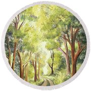 Country Lane In Spring Round Beach Towel